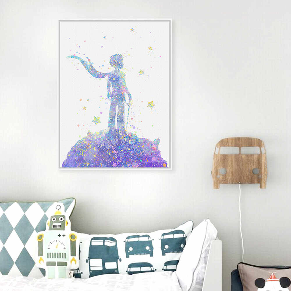 Watercolor Little Prince Pop Modern Movie Art Print Poster Abstract Wall Picture Canvas Painting Boy Kids Room Decor