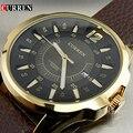 Moda de luxo da marca curren masculino relógio horas data pulseira de couro marrom homem business casual relógios de pulso reloj à prova d' água