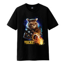 2017 filme guardians of the galaxy vol. 2 rocket guaxinim cosplay de manga curta de algodão o-neck camisetas camisetas pretas(China)