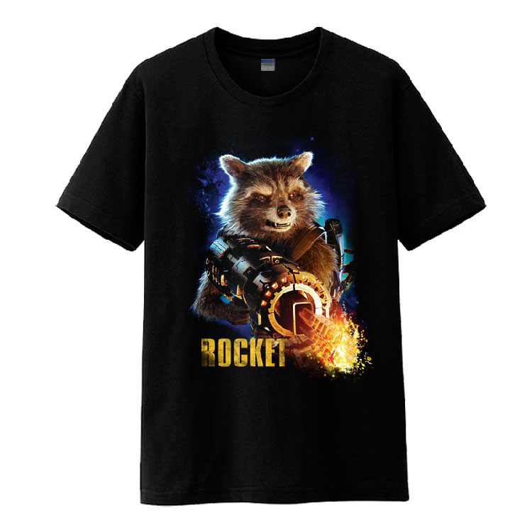 2017 Movie Guardians of the Galaxy Vol. 2 Rocket Racoon Cosplay Short Sleeve Cotton O-Neck Tee Shirts Black T-shirts