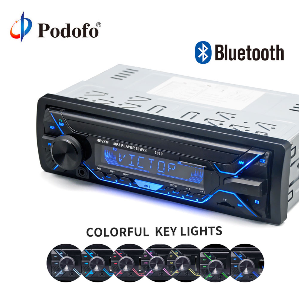 Podofo 12V Car audio stereo Car Radio Bluetooth Phone AUX-IN MP3/FM/USB/1Din/remote control In-dash Hands-free Call Audio player amprime car radio stereo audio mp3 player 1 din in dash digital bluetooth phone aux in mp3 fm usb sd remote control 12v input
