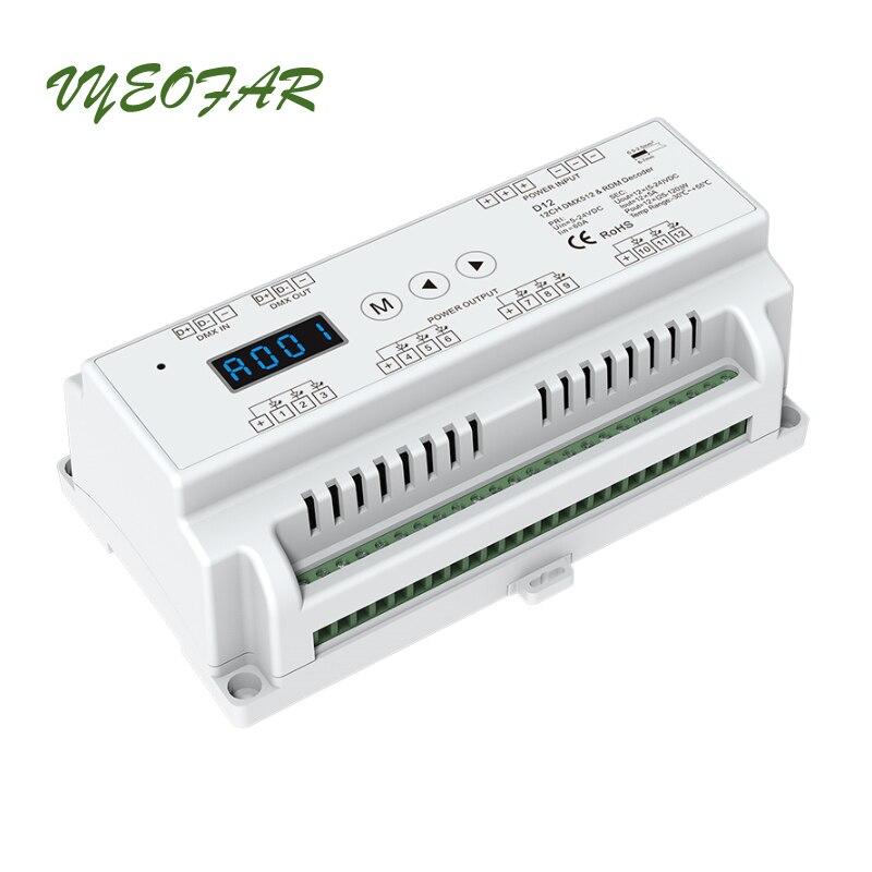 LED DMX décodeur DC12V-24 V entrée; 5A * 12CH Max 60A 1440 W sortie RGB/RGBW vert terminal connecteur écran LED DMX512 CV décodeur