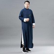 Новинка осени, Вышитое бамбуковое платье, мужская одежда в китайском национальном стиле, длинный костюм Han, одежда Nation D136