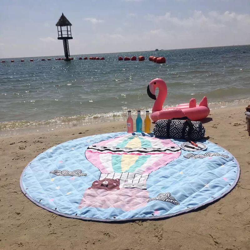 Imperméable à l'eau Oxford ballon à Air chaud et cygne jouet sac de rangement rond diamètre 1.5 m enfant ramper couverture pique-nique plage jouer tapis/tapis/tapis