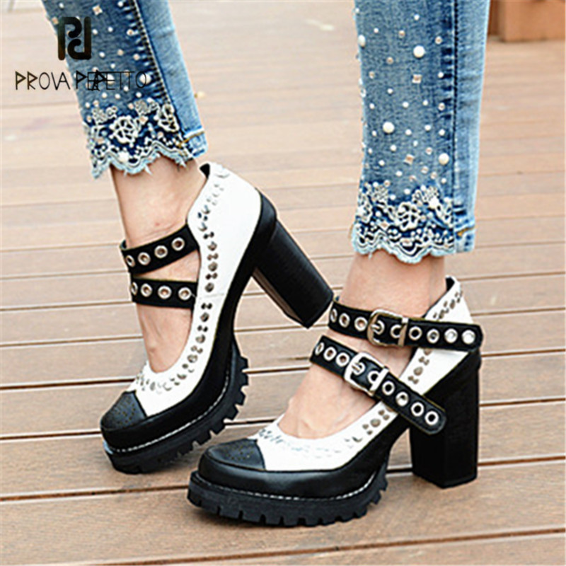 Prova Perfetto Black White Women Platform Pumps Rivets Studded Stiletto Straps Chunky High Heels Female Summer Boots Shoes Woman prova perfetto brown women genuine leather high heel boot platform mid calf high boots buckle straps martin botas shoes woman