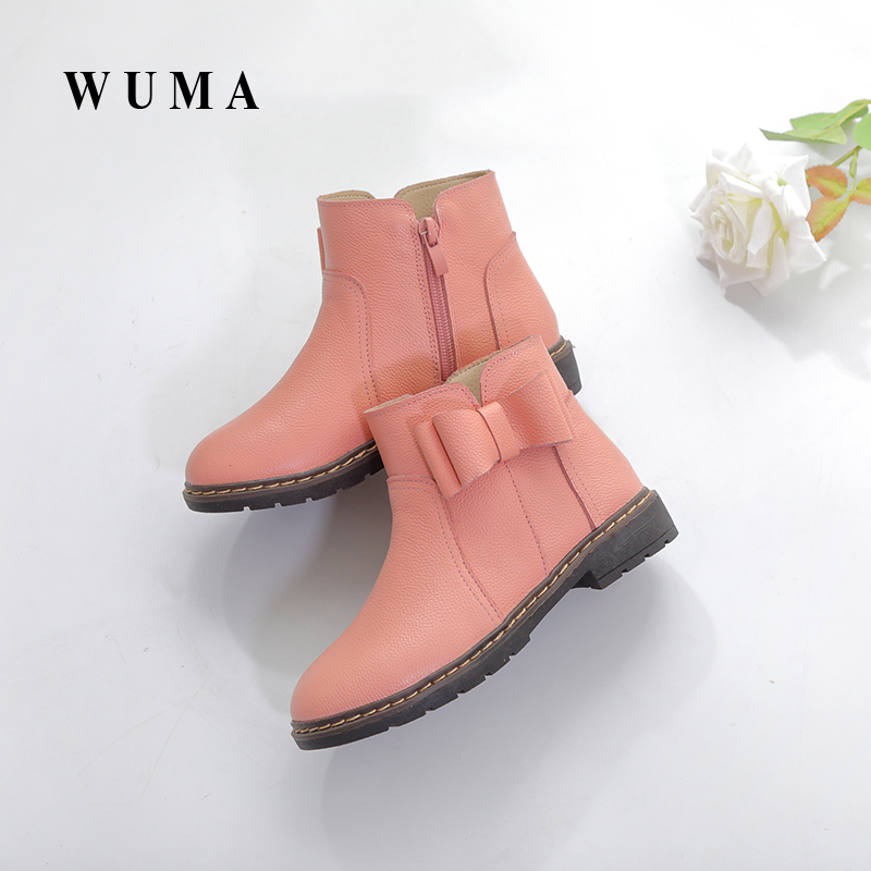 WUMA Genuine Leather Spring Autumn Girls Boots Kids Shoes 2017 New Brand bow Children Boots Fashion Toddler Baby Girls Shoes aadct spring new travel children shoes low cut casual boys running shoes real leather kids shoes for little girls brand