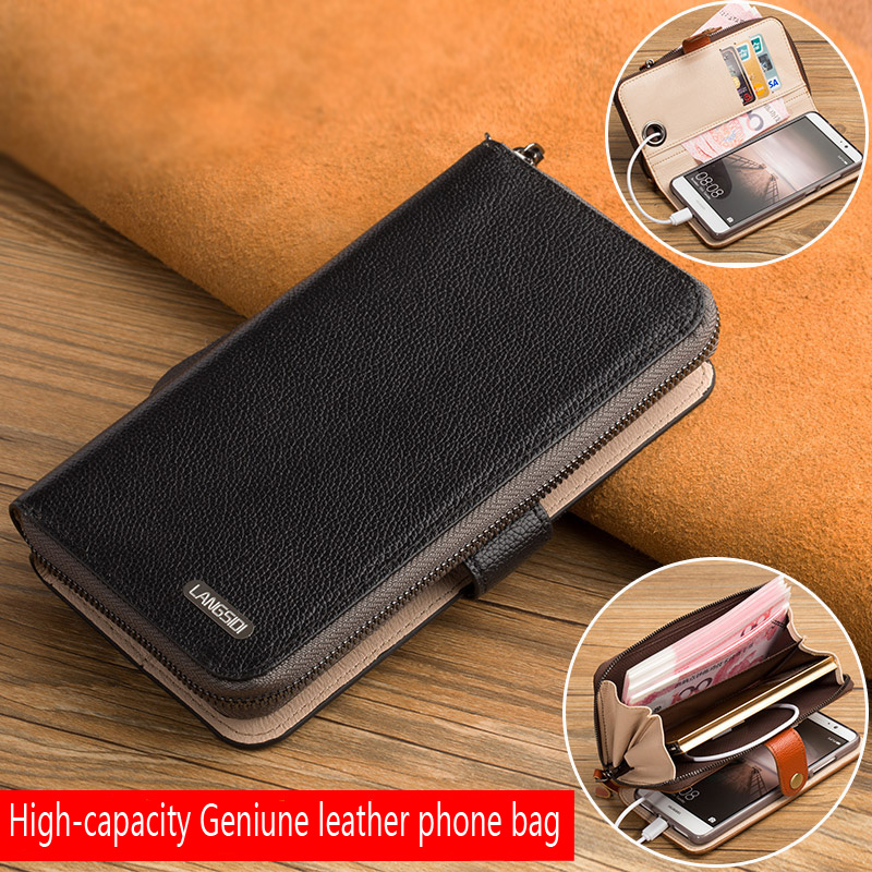 LANGSIDI Multifunction Genuine Leather Flip wallet for Samsung Galaxy A50 a7 A8 2018 Luxury Women Cards Slots Stand Phone Bags