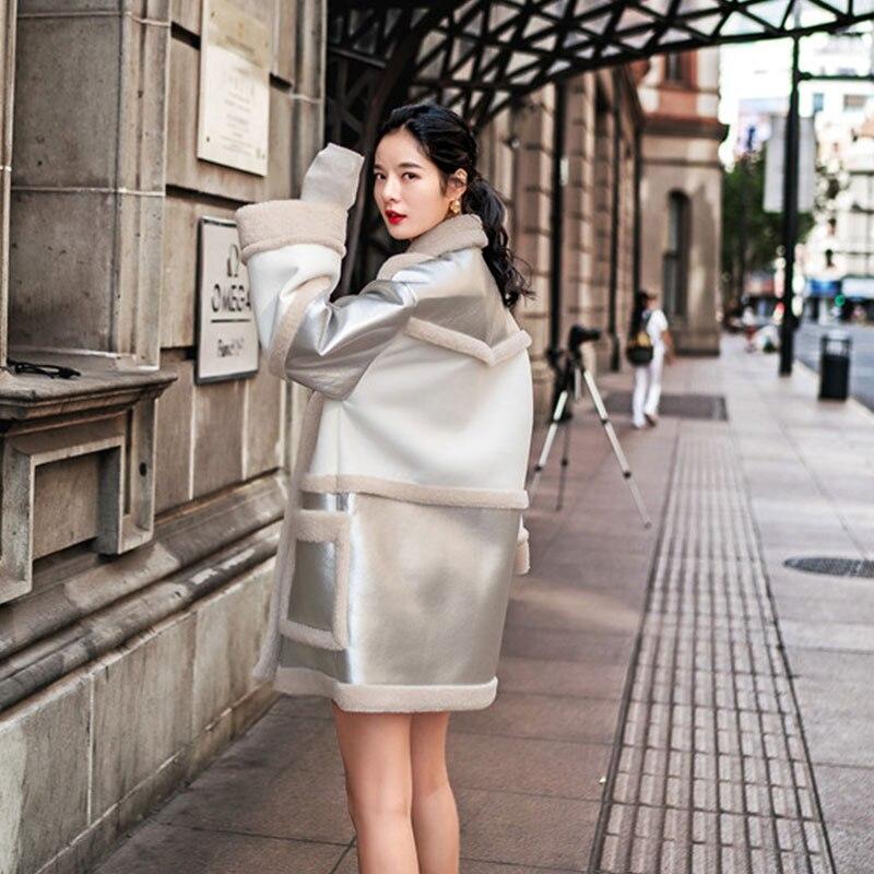 Hiver Laine Fourrure Mode Tops Taille Femelle Color Lâche Faux Nouveau Argent Revers Brillant Chaud Photo Plus Manteau Pardessus Couture De La S034 Agneau EIW9D2eHY