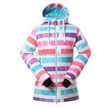 free shipping women new style ski jacket stripe snowboard suit windproof warm ski jacket
