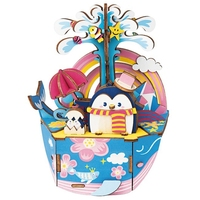 Robotime diy 만화 oceam 공원 나무 움직일 수있는 음악 상자 시계 유형 가정 장식 아이들을위한 아름다움 선물 친구 amd51