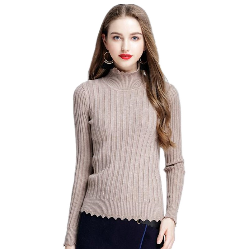 2017 High Quality Autumn Winter Unique design New Knitted Women Sweater turtleneck Elasticity Sweater Knitwear Female Warm Tops