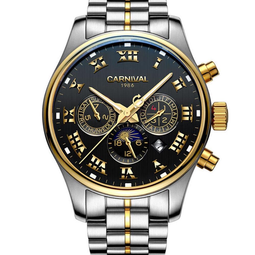 Carnival  Mechanical Watch Men Moon Phase Roman Numerals Dial Luminous Full Steel Multifunctional Waterproof Clock Hot brief faux leather roman numerals waterproof watch