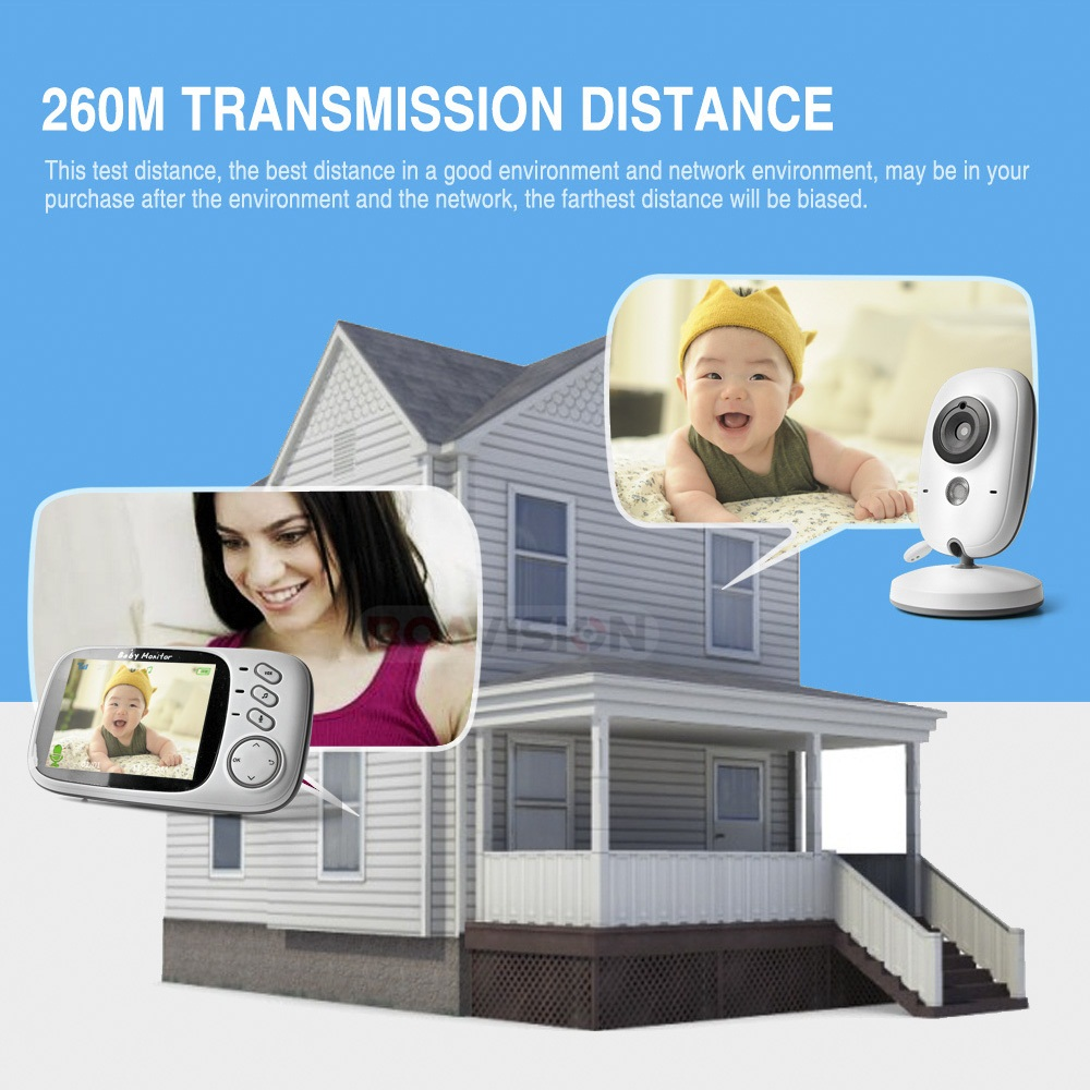 Image 2 - 3.2 Inch Color LCD Wireless Video Baby Monitor Night Vision 5m Nanny Monitor Bebek Lullabies Surveillance Security Camera VB603-in Baby Monitors from Security & Protection