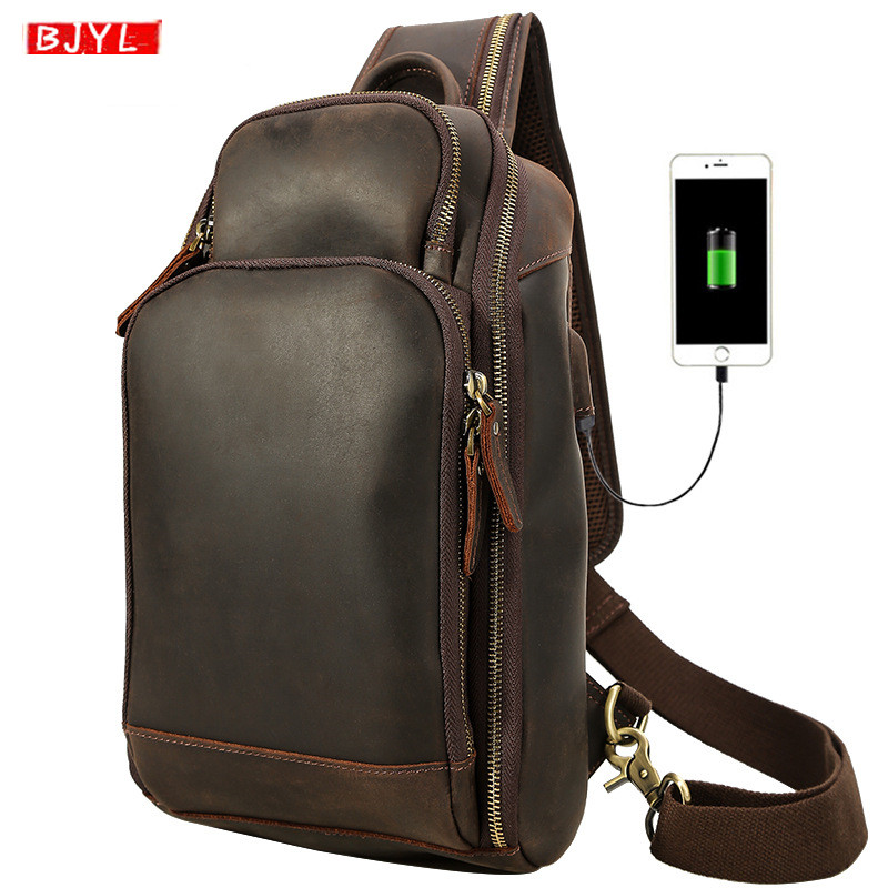 Retro Crazy horse leather mens chest bags first layer leather crossbody bag male USB charging Large capacity shoulder bags 2019Retro Crazy horse leather mens chest bags first layer leather crossbody bag male USB charging Large capacity shoulder bags 2019
