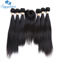 Sapphire Peruvian Straight Remy Human Hair Bundles With Closure Human Hair Weaves 6 Bundles With TOP