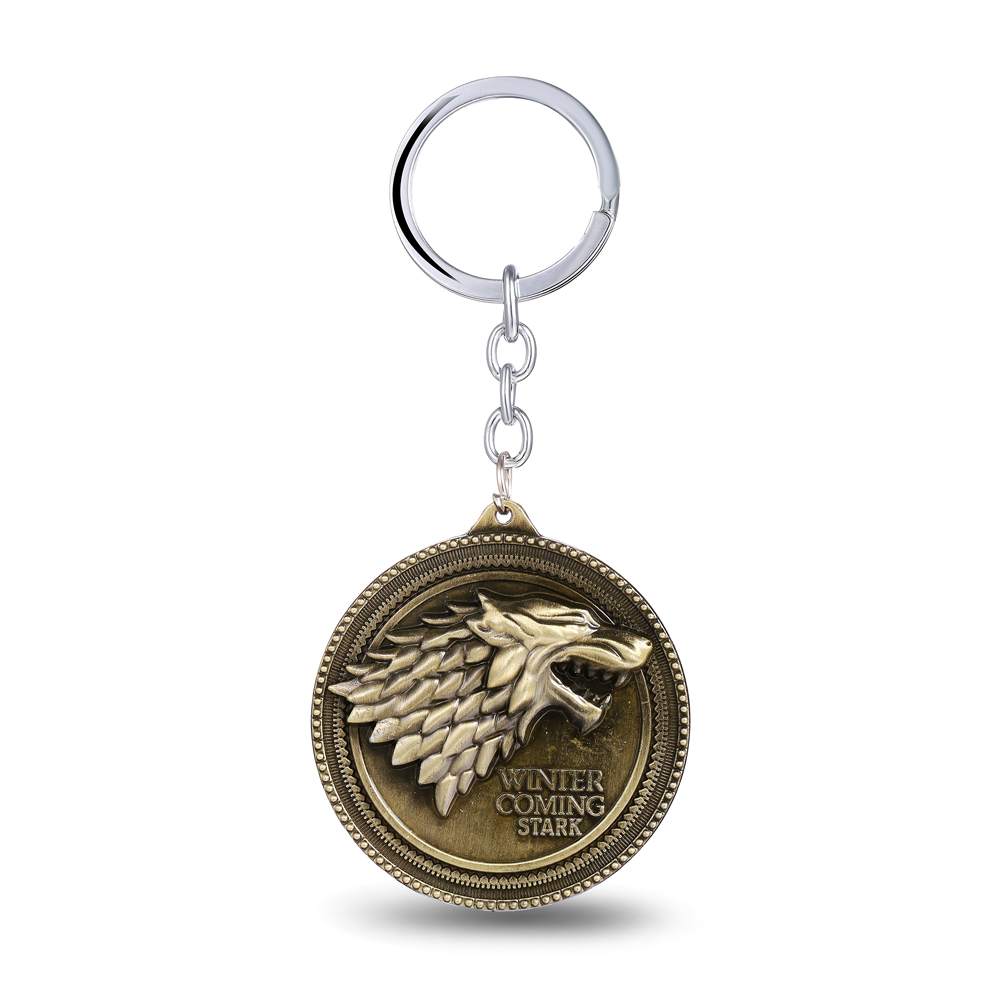 MS JEWELS Game of Thrones Shield Round Coin A Song Of Ice And Fire Stark Family Crests Keychain Key Chain Chaveiro Key Ring