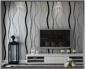 Image 2 - 黒グレーストライプ壁紙現代の寝室の湾曲したストライプのためのリビングルームのテレビの背景