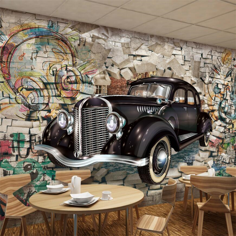 Beibehang Big Wall Retro Vintage Car Wall 3d Restaurant Bar Mural