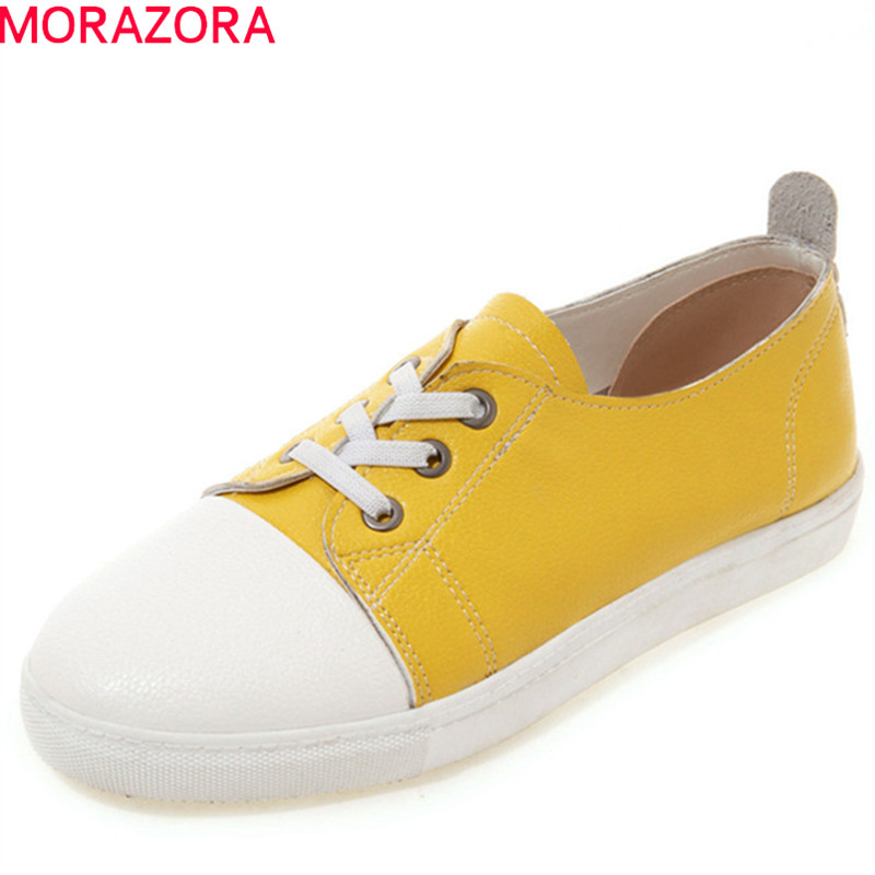 MORAZORA 2019 big size 43 white flat shoes women pu lace up spring summer casual shoes mixed colors simple single shoes womanMORAZORA 2019 big size 43 white flat shoes women pu lace up spring summer casual shoes mixed colors simple single shoes woman