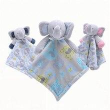 1pieces/lot saliva towel 38cm baby calm doll cartoon elephant plush puzzle fun Childrens toys birthday present Christmas gift