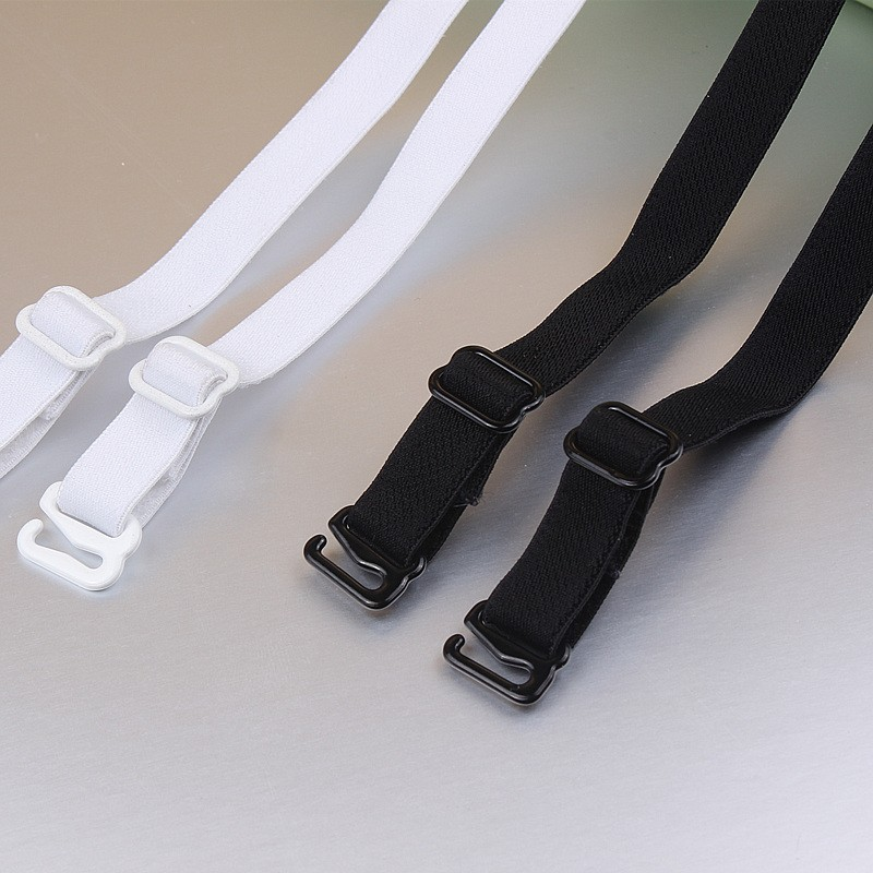 1 pair good quality black white 1cm width nylon elastic bra straps with metal clips 3