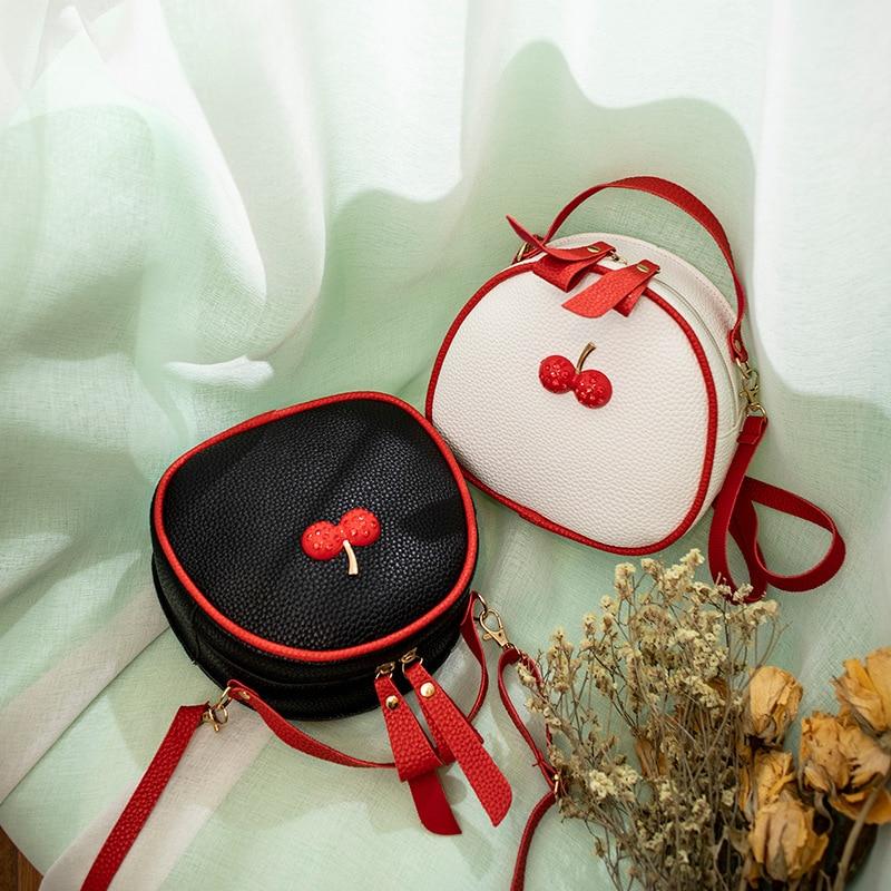 Cute Cherry Small Round Shoulder Bag Women 2019 Embossed Leather Crossbody Bag Female Mini Black Messenger For Ladies Girls Kids