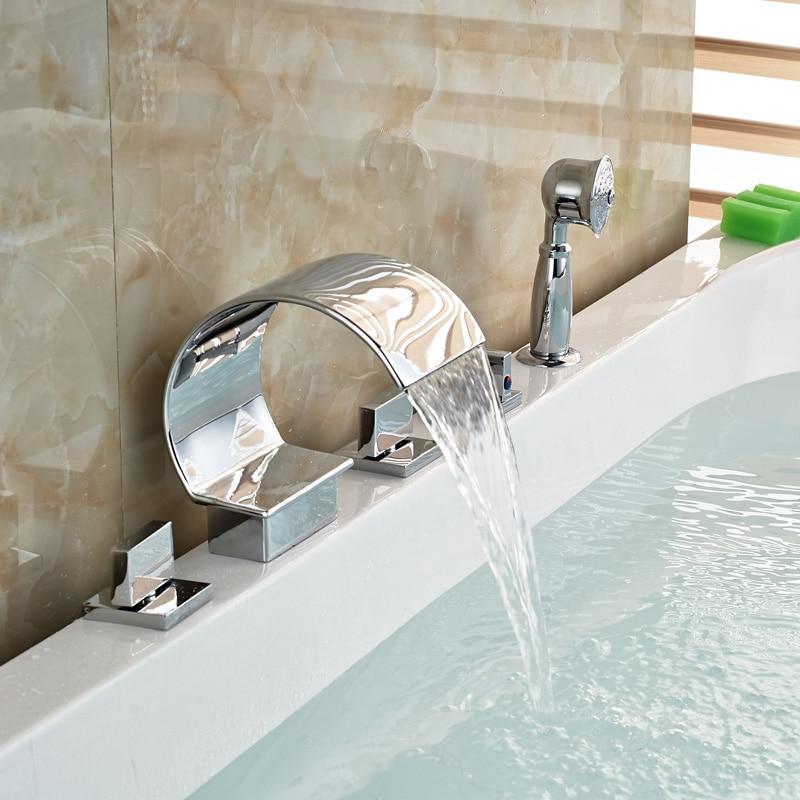 Waterfall 5PCS Bathroom Bathtub Faucets with Handshower 3 Brass Handles Chrome Finish