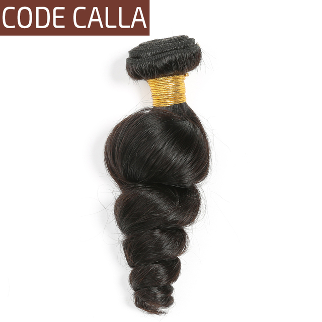Code Calla 100 Unprocessed Raw Virgin Peruvian Human Hair Loose Wave Bundles Weave Extensions Natural 1B Black Color For Women