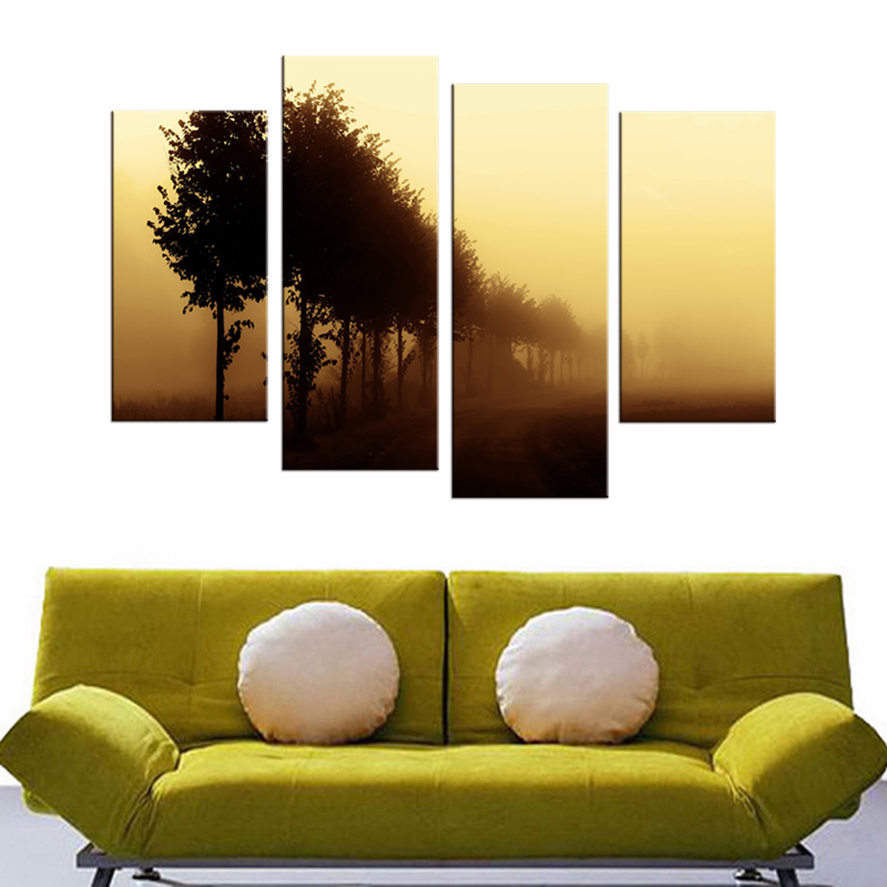 4 Panel Wall Art Oil Painting On Canvas Fog in the big tree scenery ...