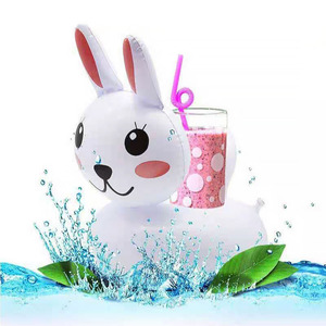 Lovely Rabbit Cartoon Drink Holder Pool Float Inflatable 3PCS Hawaii Beach Party Decoration Supplies Kids Adults Bath Toys Swim