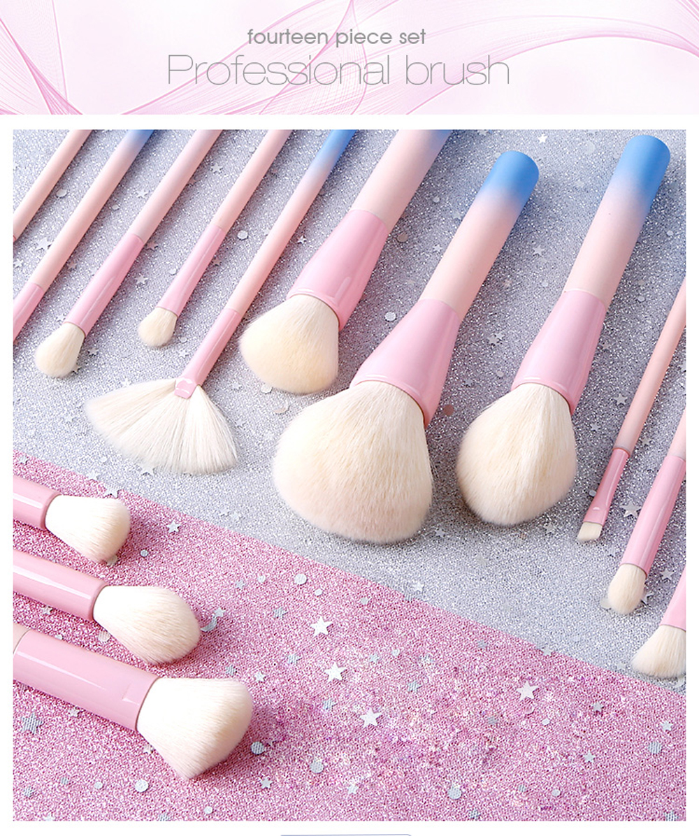 4e5b5ba8404a 14Pcs/set Gradient Handle Makeup Brushes Soft Synthetic Hair Foundation  Power Brush Set Facial Make Up Tools Cosmetic