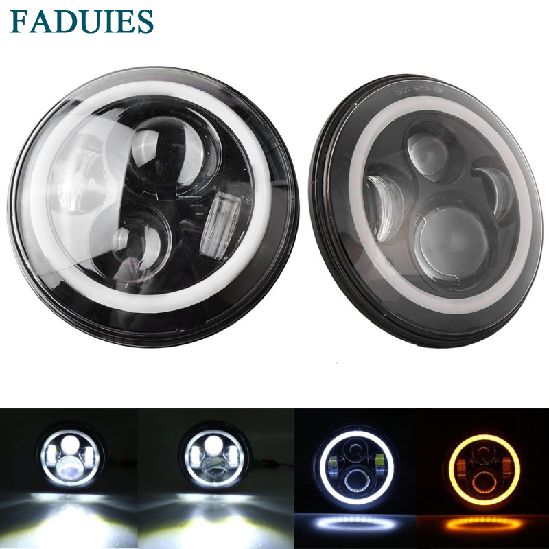 FADUIES 7 Inch Round LED Headlights White Halo Ring Angel Eyes+Amber Turning Signal Lights For Jeep Wrangler JK TJ CJ pair 7 inch round high low led headlight with amber signal halo ring angle eyes with drl halo for 97 15 jeep wrangler jk tj