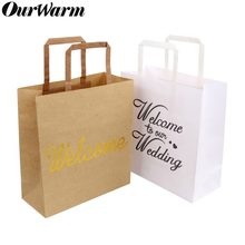 OurWarm 5Pcs Kraft Paper Bag with Handle Wedding Party Favor Bag Candy Gift Packing Pouch Shopping Bags Birthday Party Supplies(China)