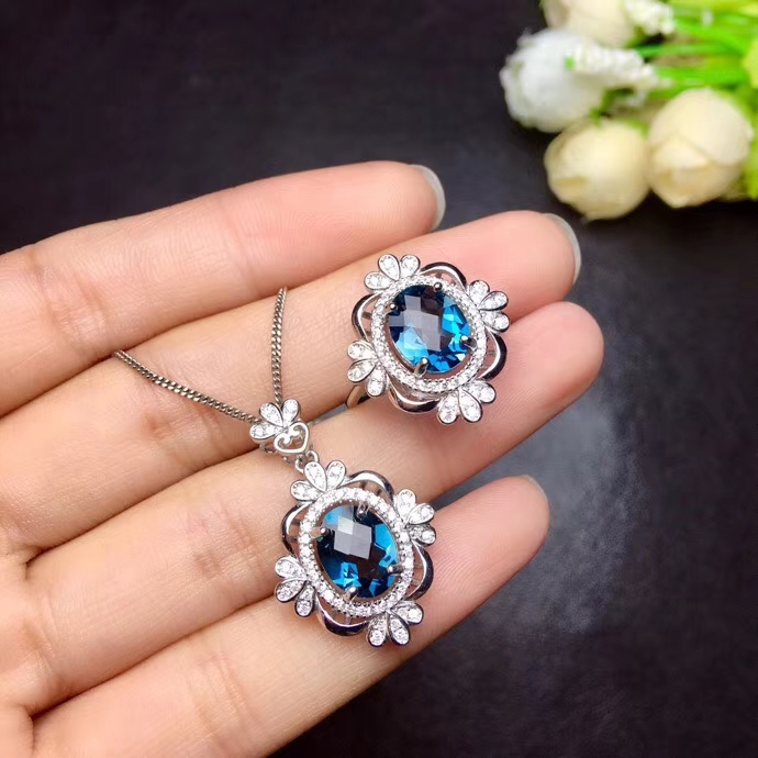 Natural pink topaz gem jewelry sets natural gemstone ring Pendant 925 silver Stylish Geometric Flower women party fine jewelry faux gem geometric engraved insect ring