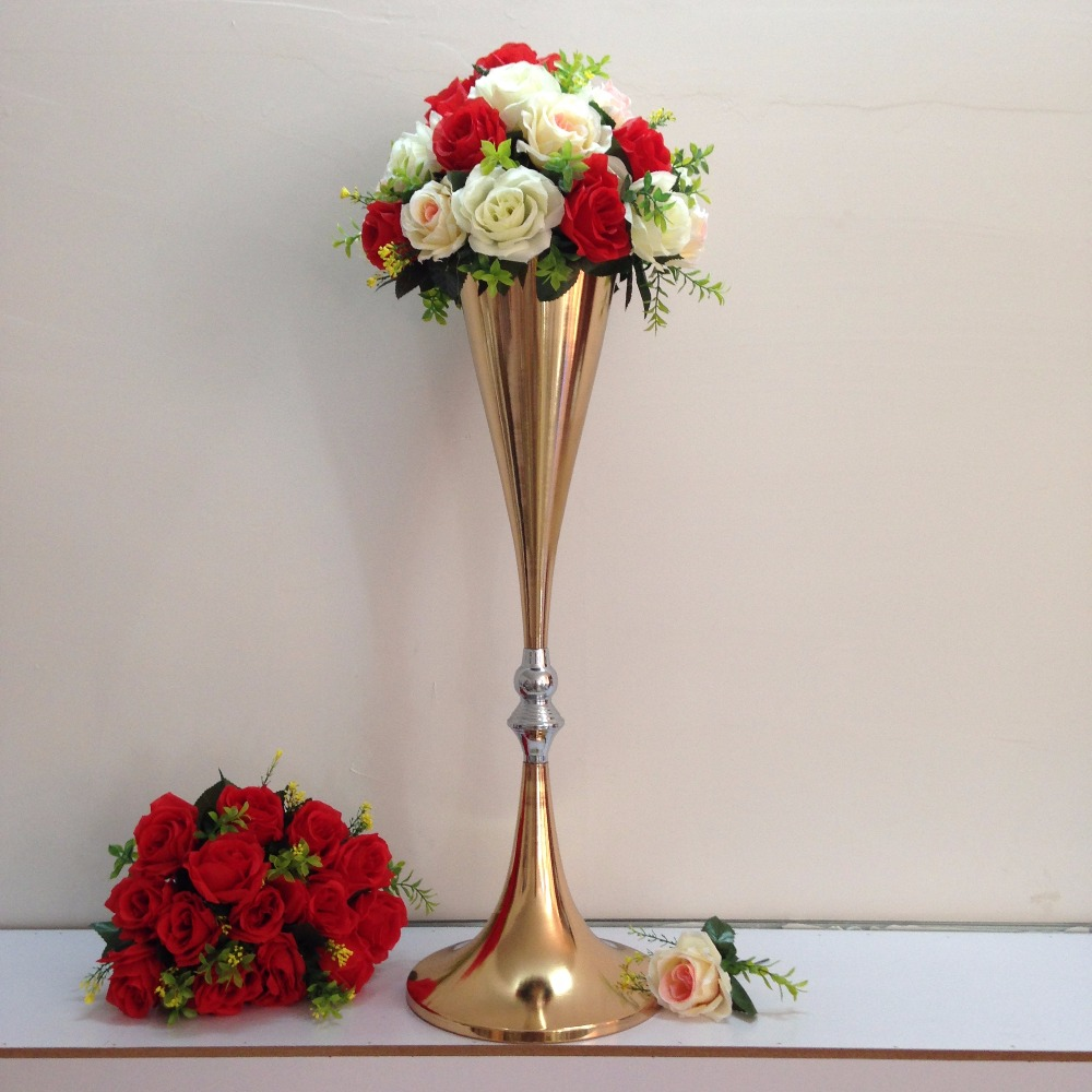 10pcs Wedding Road Lead Flower Shelf Gold Table Stand for Wedding Centerpiece Decoration flower vase road lead column