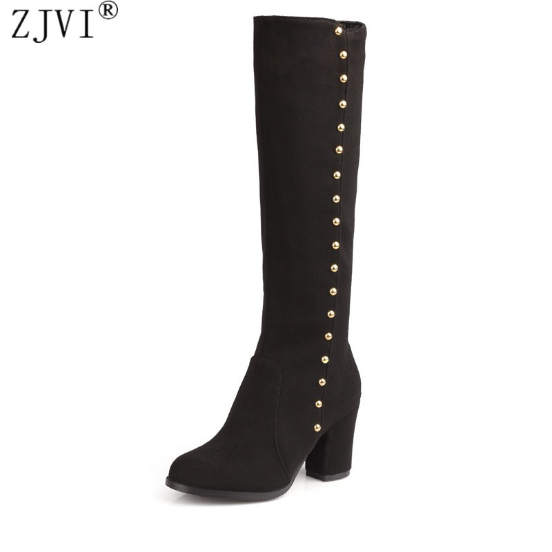 ZJVI womens Nubuck thigh high boots 2018 autumn Winter women fashion Boots high heels knee high boots suede female black shoes