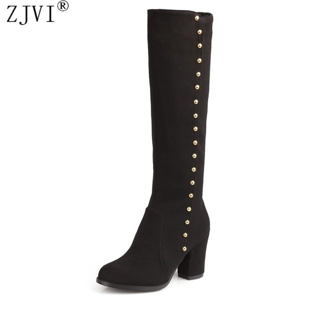 ZJVI womens Nubuck thigh high boots 2018 autumn Winter women fashion Boots high heels knee high boots suede female black shoes