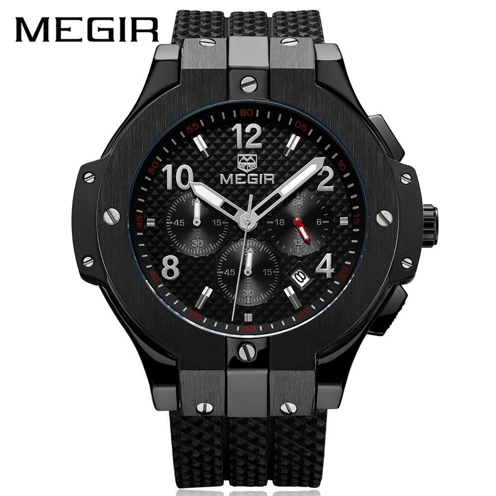 MEGIR Chronograph Sport Watch Men Creative Big Dial Army Military Quartz Watches Clock Men Wrist Watch Hour Relogio Masculino цена