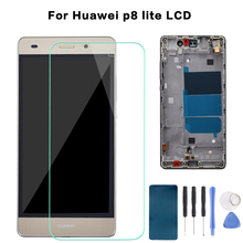 купить For Huawei Ascend P8 Lite ALE-L04 L21 TL00 L23 CL00 L02 UL00 LCD Display Touch Screen Digitizer Assembly Replacement With Frame по цене 650.66 рублей