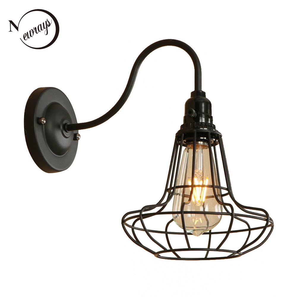 Creative iron painted country black wall lamp LED E27 retro industrial wall light for pathway aisle corridor parlor hotel shop