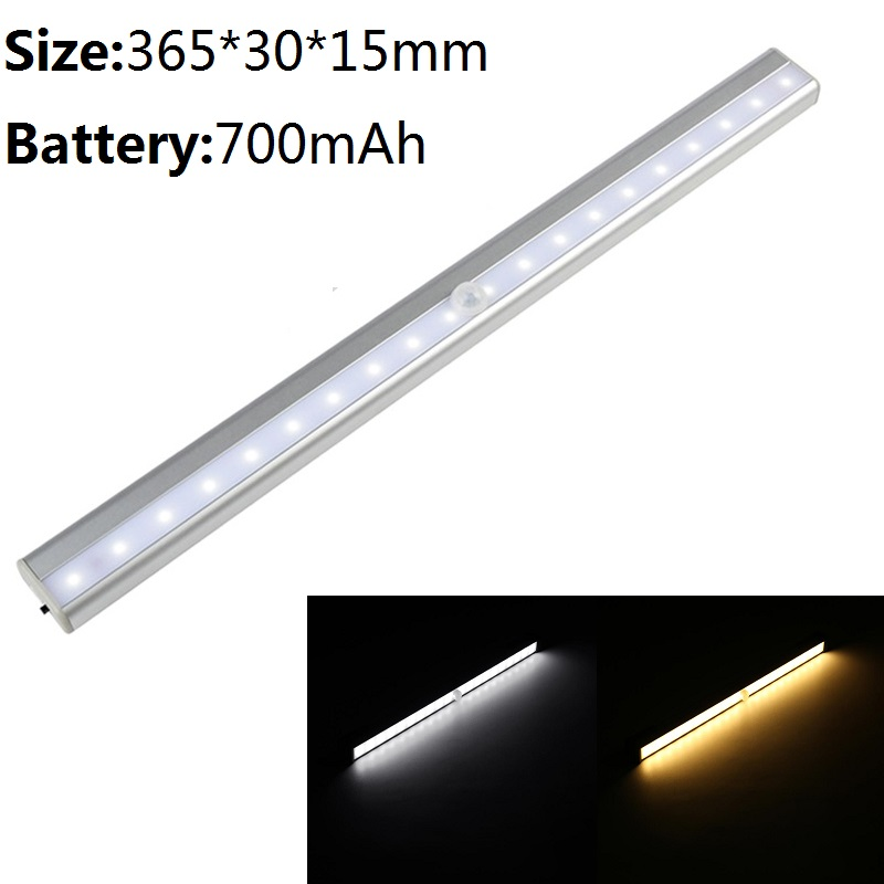 365mm 20Leds Under Cabinet light USB Chargeable LED lights IR Motion Sensor lamp for Stair kitchen night lamps Home Decoration