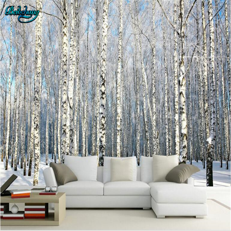 Beibehang Birch Forest Snow Landscape Television Background Wall Custom Lounge Wallpaper Mural Decoration