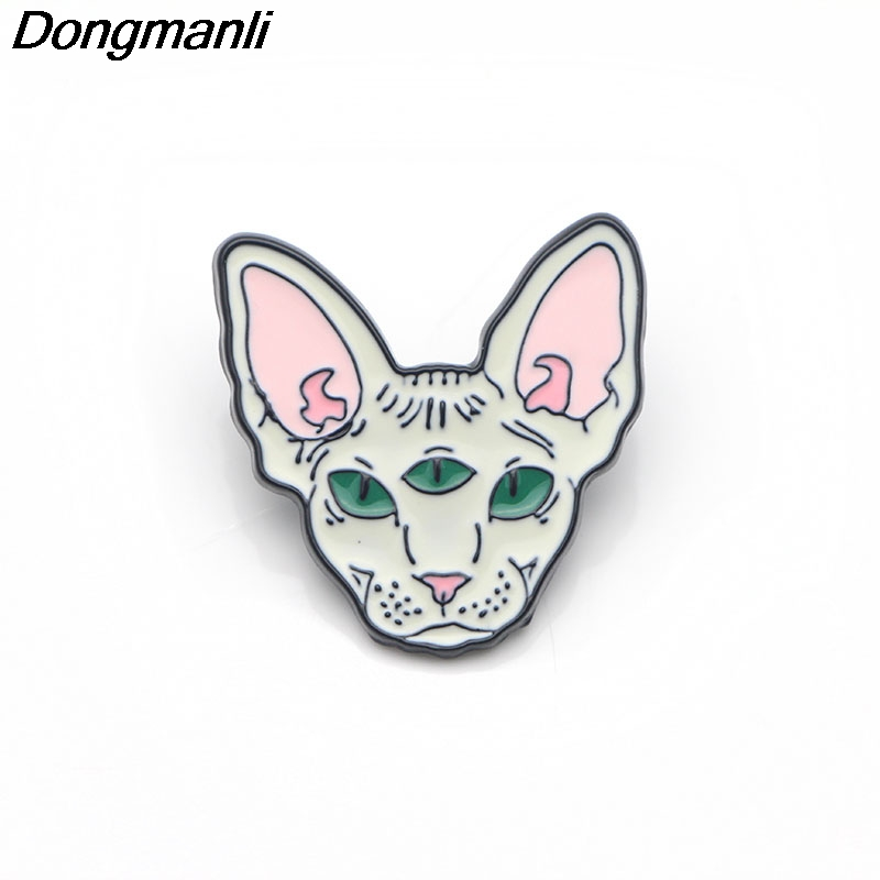 P3070 Dongmanli Cute Sphynx Cat Metal Enamel Pins and Brooches for Women Men Lap