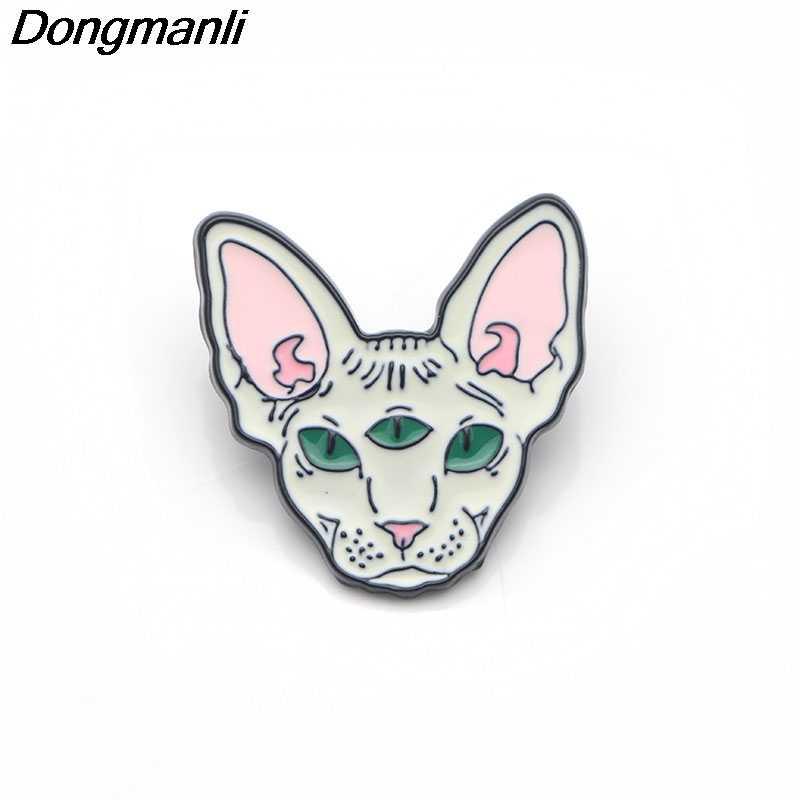 P3070 Dongmanli Lucu Sphynx Kucing Logam Enamel dan Bros untuk Wanita Pria Lapel Pin Tas Ransel Topi Lencana Anak-anak hadiah