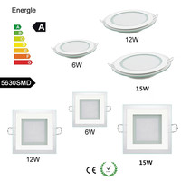 20pcs Lot 12W LED Glass Panel Light Recessed Cabinet Wall Lamp Ceiling Light For Kitchen Bathroom