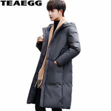 TEAEGG Gray Long Thick Winter Jacket Men 2017 Casual White Duck Down Jacket Men Hood Parkas Homme Men's Clothing Outwear AL364