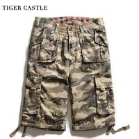 TIGER CASTLE Camo Carogo Shorts Men 100% Cotton Tactical Bermuda Shorts Casual Calf Length Summer Shortpants Male Bicycle Shorts