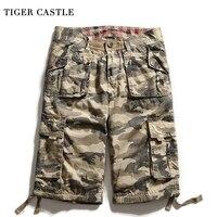 TIGER CASTLE Camo Caro Shorts Men 100 Cotton Tactical Bermuda Shorts Casual Calf Length Summer Shortpants