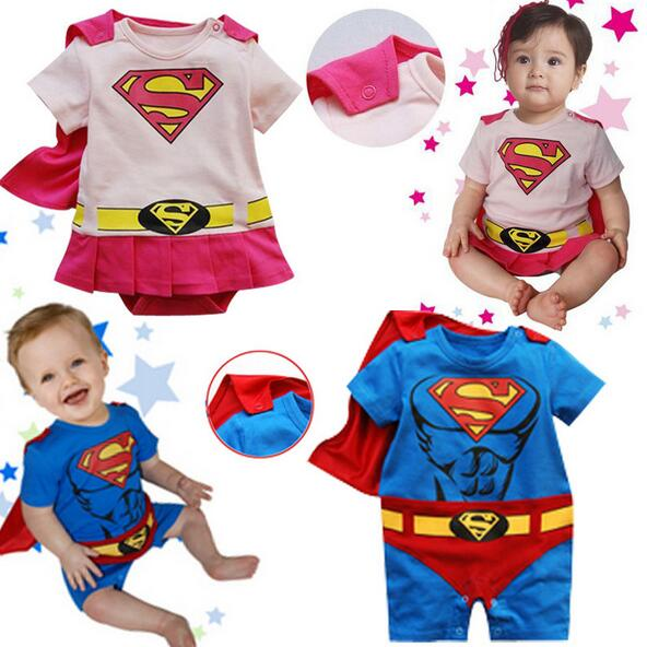 Baby Cartoon Style Cosplay Superman   Romper   Kids Toddler Blue Pink Manteau Jumpsuit Child O-neck Costumes Baby Cotton Clothes