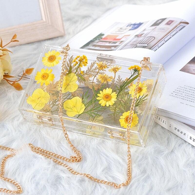 Fleur Transparent sacs pour femmes 2019 nouveau sac à bandoulière mode clair acrylique pochette de mariage mariée pochette et sac à main